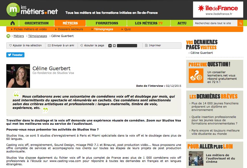 Interview of Céline Guerbert for the French website Les métiers.net